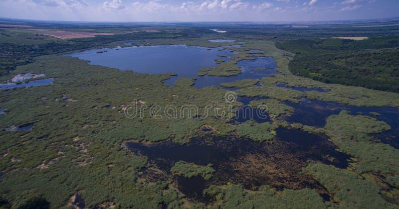 Aerial view of Srebarna lake near Silistra, Bulgaria. Aerial view of Srebarna lake, a UNESCO site, near Silistra, Bulgaria royalty free stock images