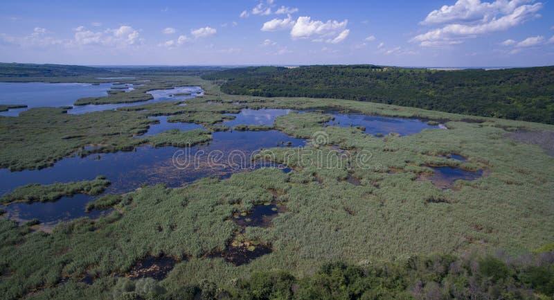 Aerial view of Srebarna lake near Silistra, Bulgaria. Aerial view of Srebarna lake, a UNESCO site, near Silistra, Bulgaria royalty free stock photography