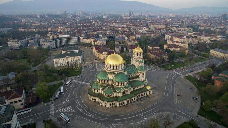 Aerial view of St. Alexander Nevsky Cathedral, Sofia, Bulgaria. The biggest orthodox church in Bulgaria, at sunrise stock image