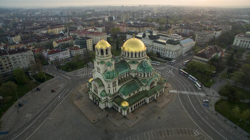 Aerial view of St. Alexander Nevsky Cathedral, Sofia, Bulgaria. The biggest orthodox church in Bulgaria, at sunrise stock photography