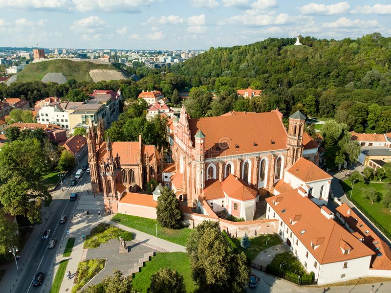 Aerial view of St. Anne`s Church and neighbouring Bernardine Church, one of the most beautiful and probably the most famous. Buildings in Vilnius. Beautiful royalty free stock photography