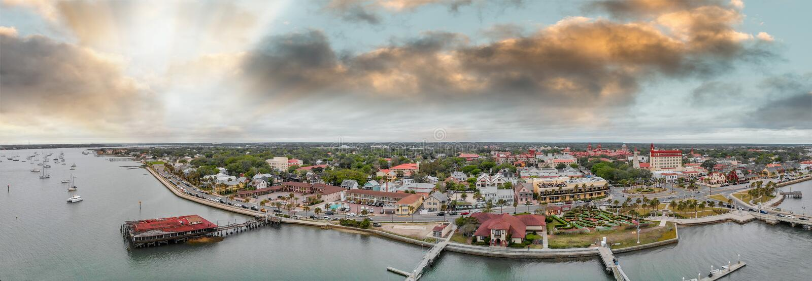 Aerial view of St Augustine from drone. Sunset panorama from cit royalty free stock photos