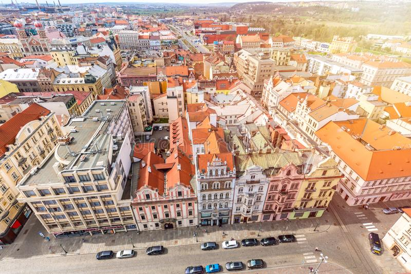 Aerial view from St Bartholomews cathedral over Republic Square. Pilsen or Plzen, in Bohemian region Czech Republic.  stock images