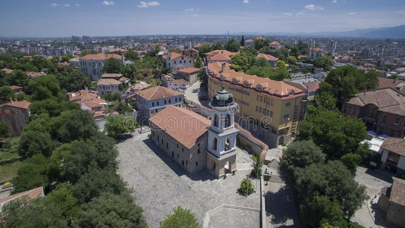 St. Bogoroditsa church, Plovdiv, Bulgaria, 23 October 2018. Aerial view of St. Bogoroditsa church, Plovdiv, Bulgaria, 23 October 2018 stock images