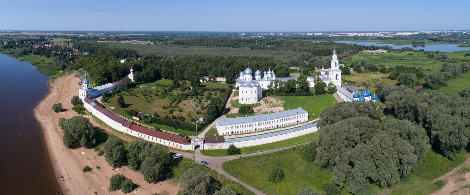 Aerial view on St. George Yuriev Orthodox Male Monastery in Veliky Novgorod stock images