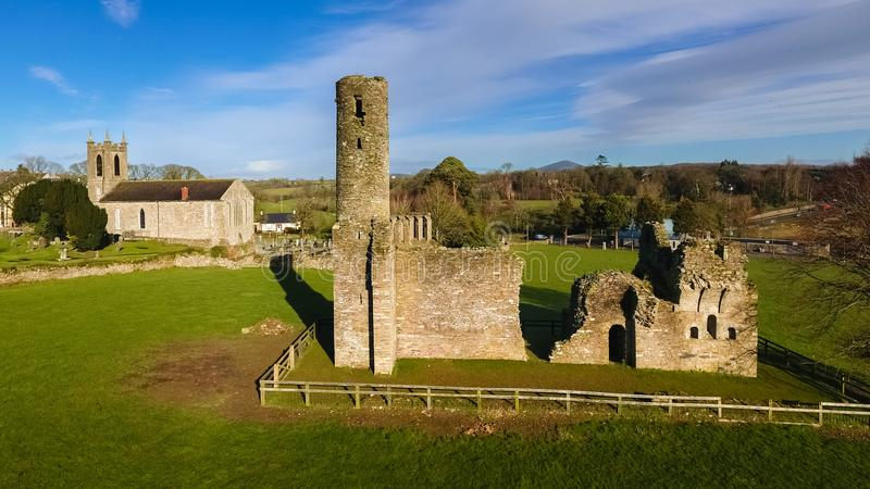 Aerial view. St Mary`s Abbey and Cathedral. Ferns. co Wexford. Ireland stock photos