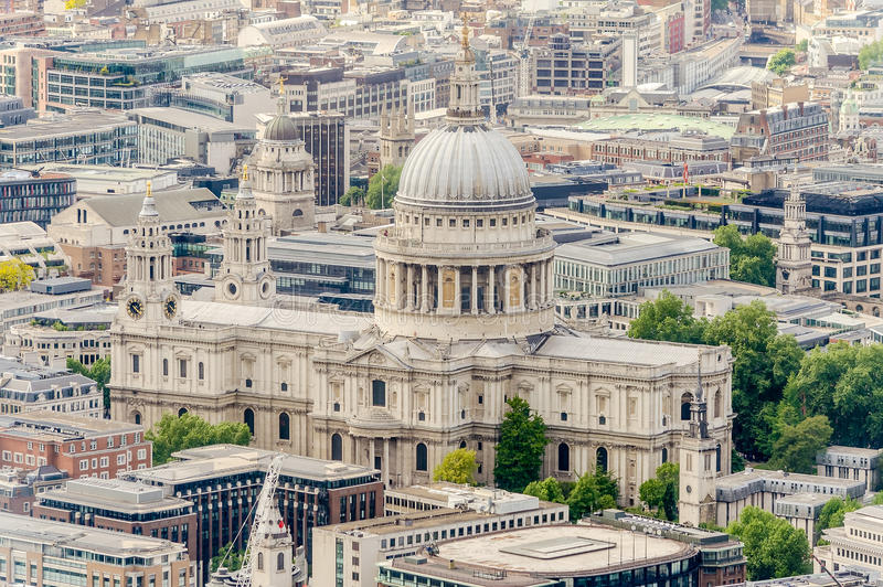 Aerial View of St Paul Cathedral, London. UK stock photos