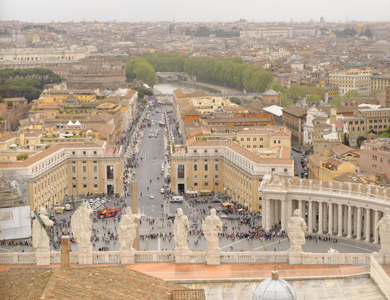 Aerial view, St. Peters Cathedral, Vatican City, Italy stock images