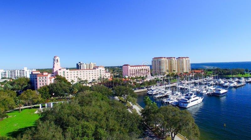 Aerial view of St Petersburg, Florida stock images
