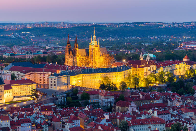 Aerial view of St. Vitus Cathedral and Prague Castle (Hradcany) at night royalty free stock image