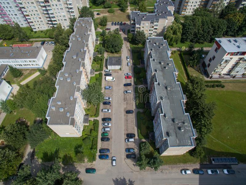 Aerial view of standard apartment parking in Kaunas stock images