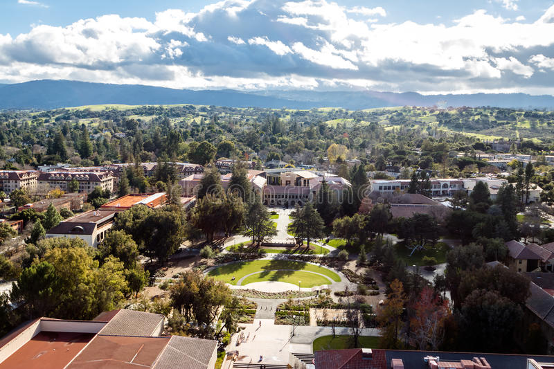 Aerial view of Stanford University Campus - Palo Alto, California, USA stock photography