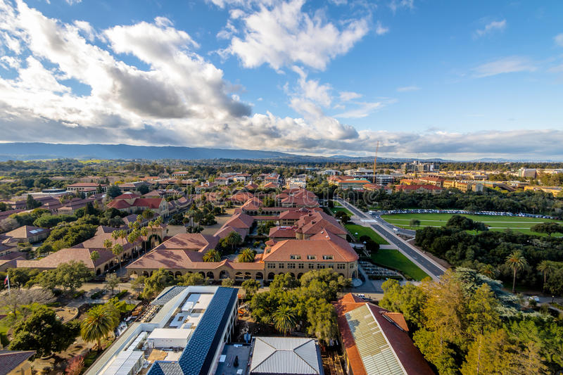 Aerial view of Stanford University Campus - Palo Alto, California, USA royalty free stock photography