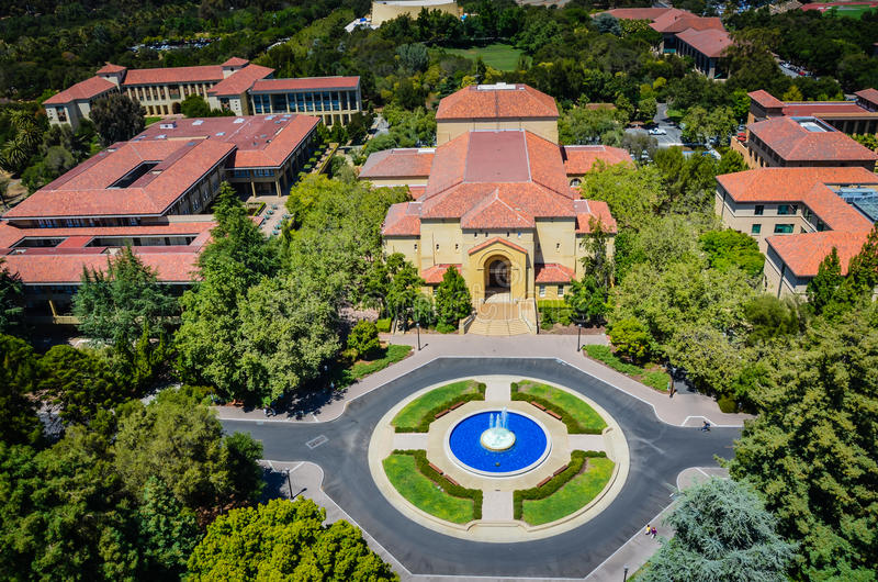 Aerial View of Stanford University stock images