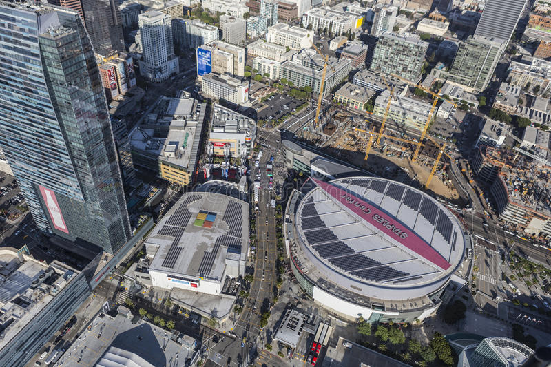 Aerial View Staples Center Los Angeles royalty free stock photo
