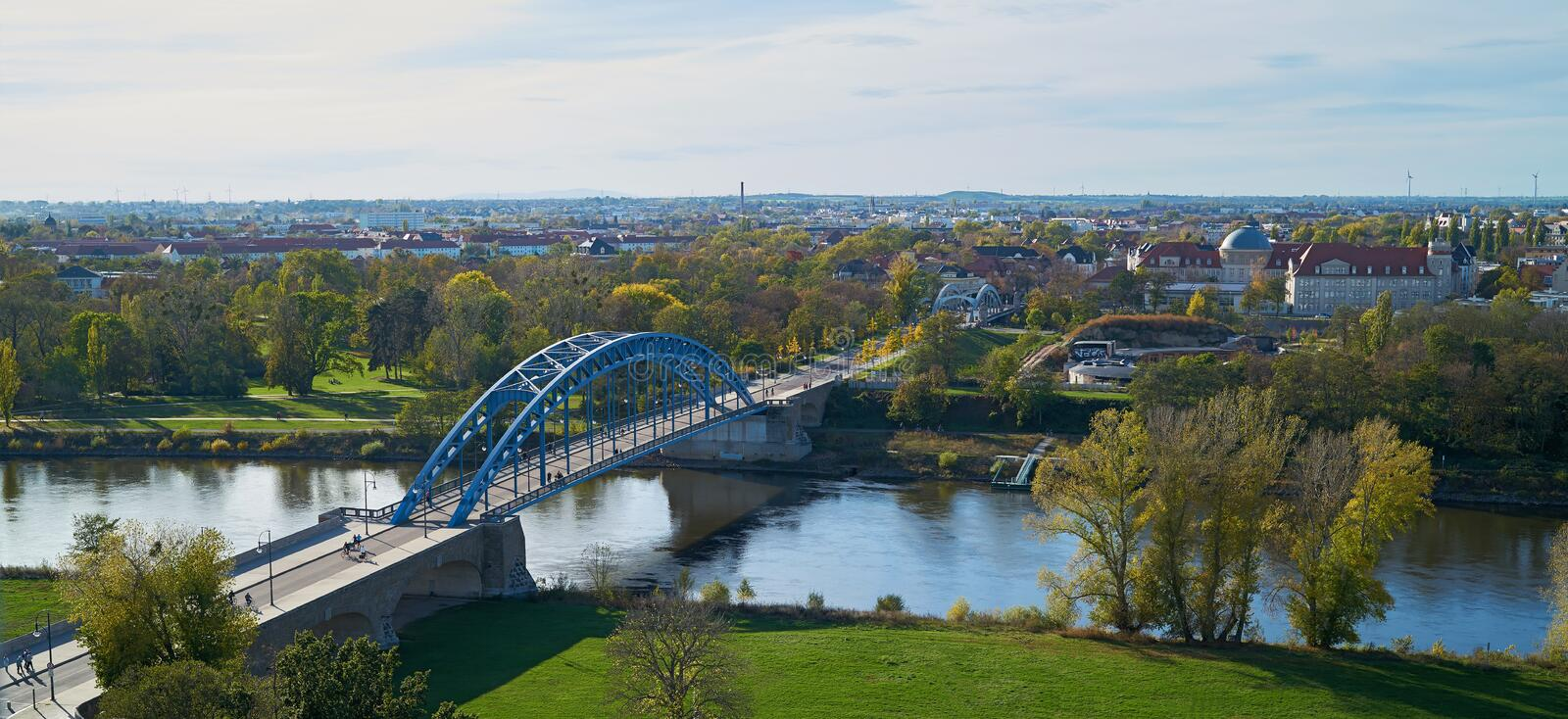 Aerial view of the Star Bridge in Magdeburg. Aerial view of the Star Bridge over the Elbe River at the Elbe Cycle Route near Magdeburg stock photo