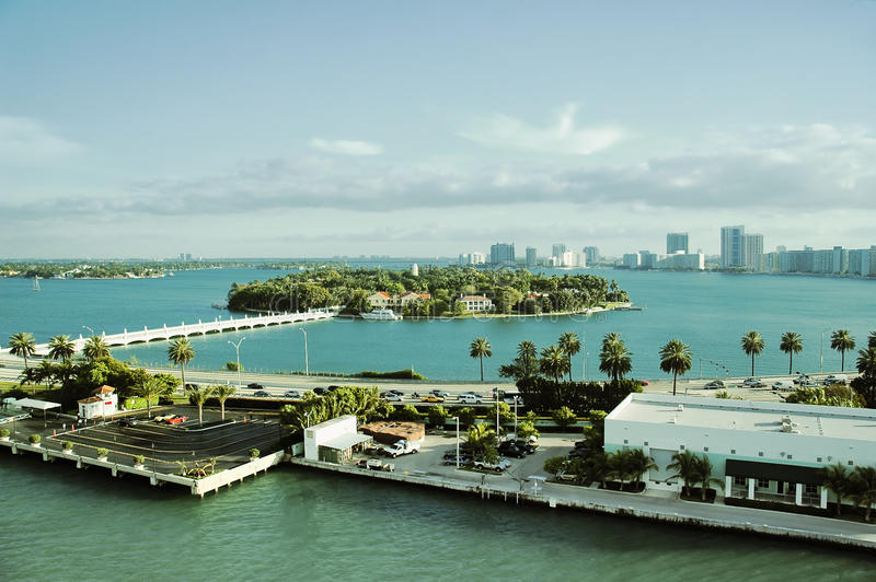 Aerial view of Star island in South Beach Neighborhood Of Miami royalty free stock photos