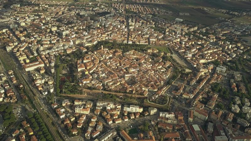 Aerial view of star shaped old city walls of Grosseto. Tuscany, Italy. Aerial view of star shaped old city of Grosseto royalty free stock images