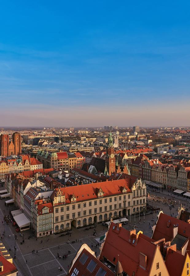 Aerial view of Stare Miasto with Market Square, Old Town Hall and St. Elizabeth`s Church from St. Mary Magdalene Church in Wrocla. W, Poland royalty free stock images