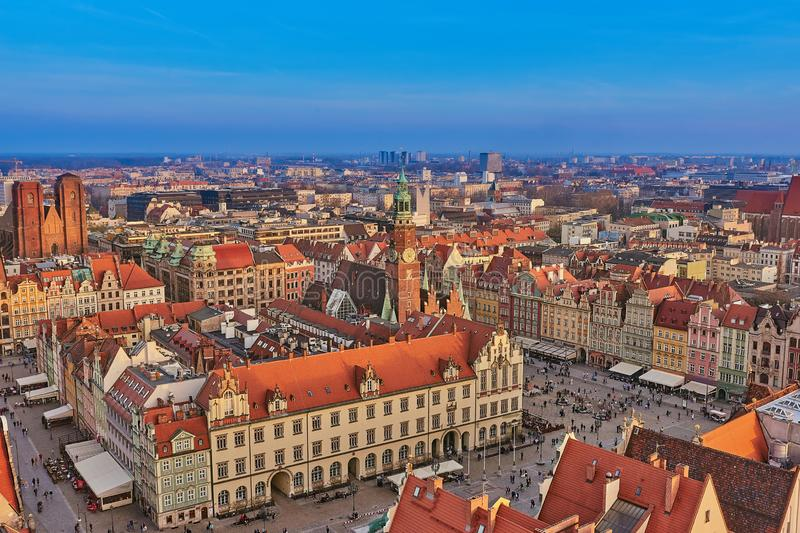Aerial view of Stare Miasto with Market Square, Old Town Hall and St. Elizabeth`s Church from St. Mary Magdalene Church in Wrocla. W, Poland royalty free stock photos