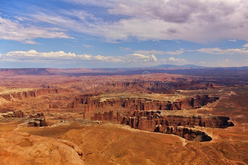 Aerial view of steep canyons from the top of a high mesa, Canyonlands National Park, Utah, USA royalty free stock photo