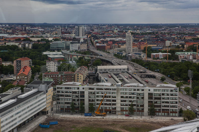 Aerial view of Stockholm captured from Ericsson Globe royalty free stock photo