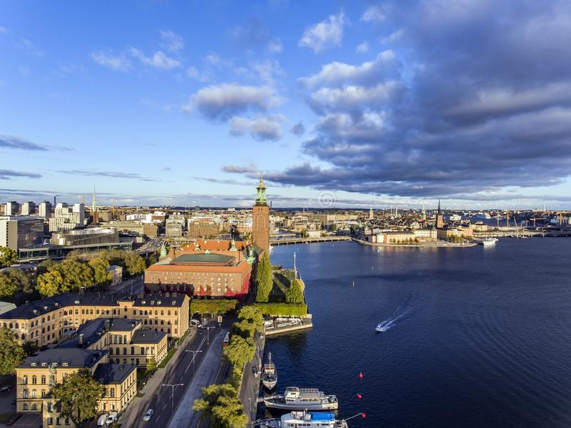 Aerial view of Stockholm City stock photo