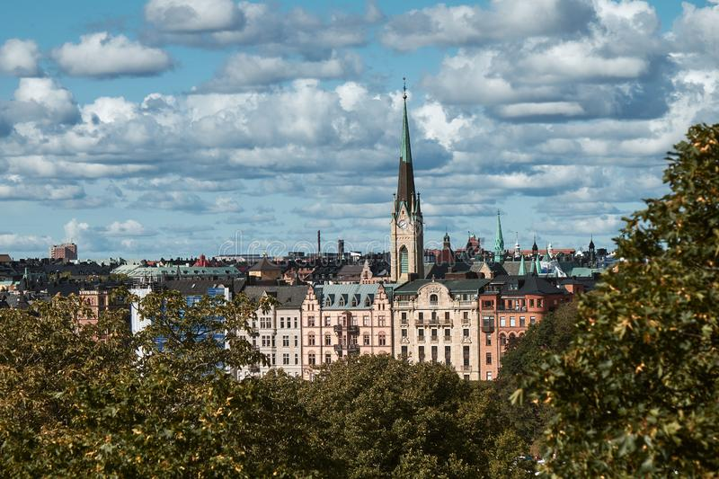 The Aerial View of Stockholm City, Sweden stock photo