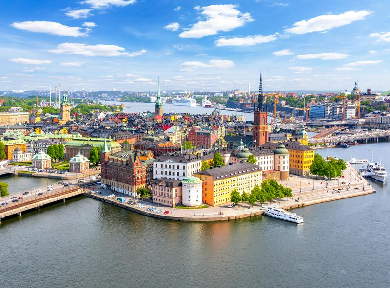 Aerial view of Stockholm old town Gamla Stan from City Hall top, Sweden royalty free stock image