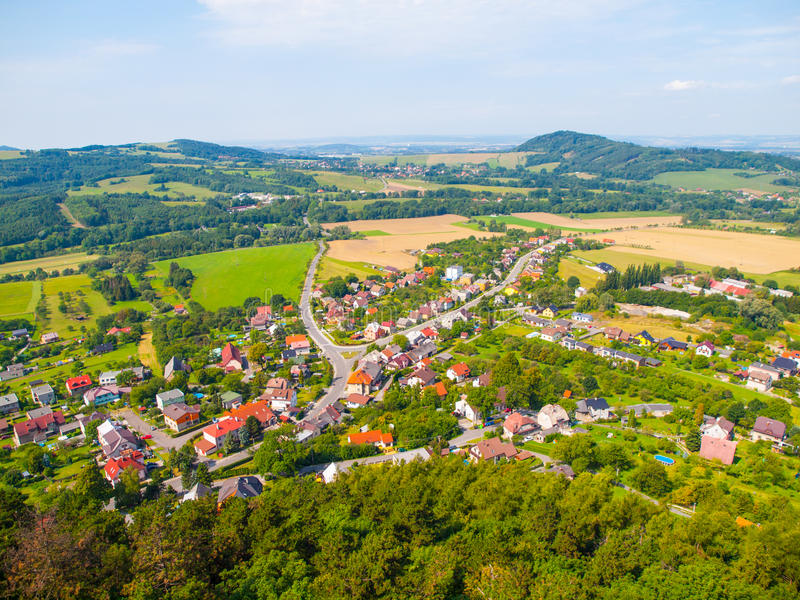 Aerial view of Stramberk, small medieval town in Moravia, Czech Republic.  royalty free stock photo