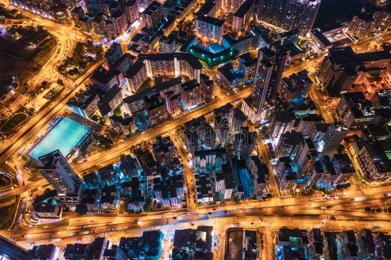 Aerial view of street at night, Hong Kong stock image