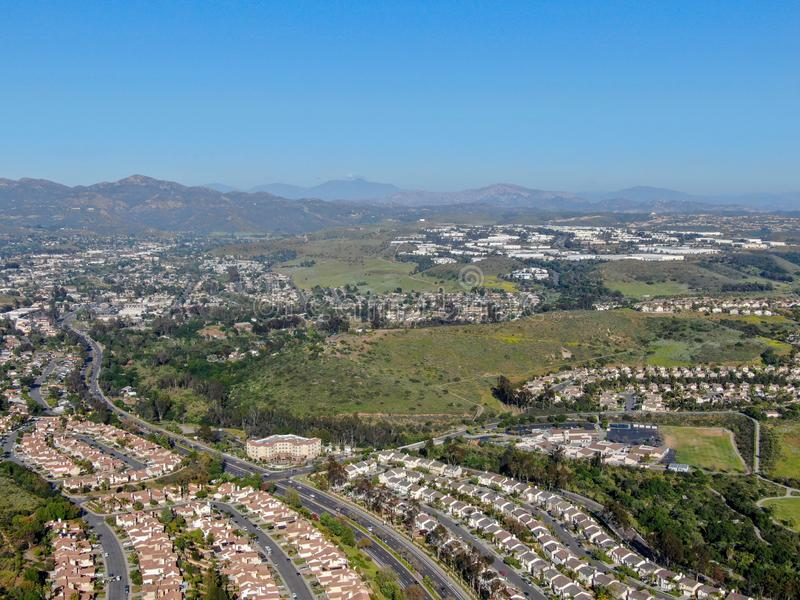 Aerial view suburban neighborhood with identical villas next to each other in the valley. San Diego, California,. USA. Aerial view of residential modern stock image