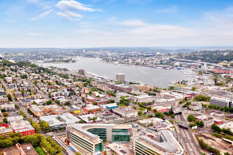 Aerial View of Suburban Seattle Neighborhood Around Lake Union. Seattle cityscape from aerial view showing suburban neighborhood surrounding Lake Union with stock photography