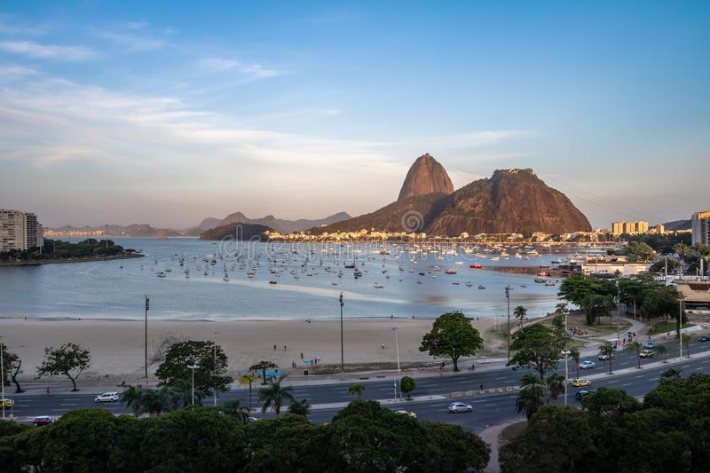 Aerial view of Sugar Loaf and Botafogo beach at Guanabara Bay - Rio de Janeiro, Brazil. Aerial view of Sugar Loaf and Botafogo beach at Guanabara Bay in Rio de stock images