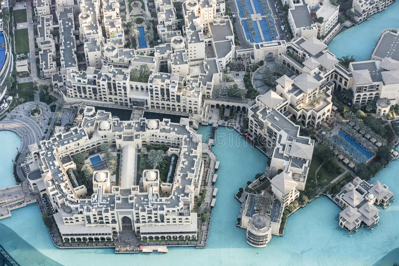 Aerial view Downtown Dubai stock photography