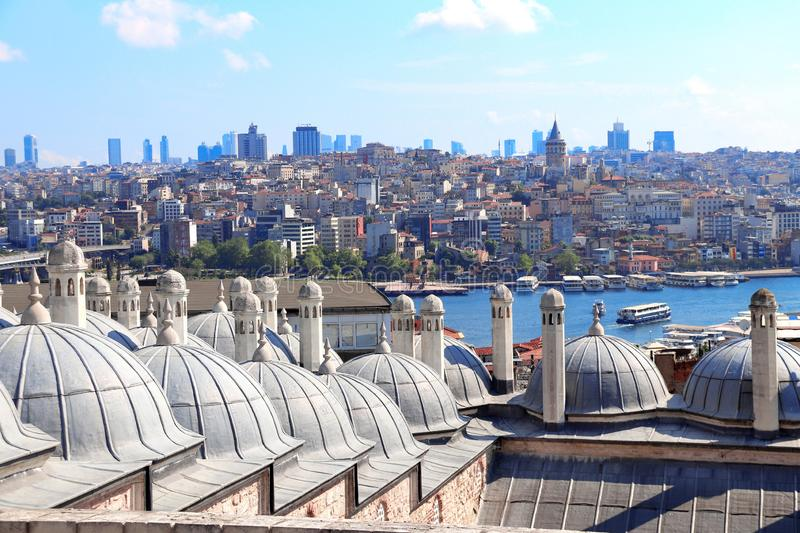 Aerial view on Galata Tower and Beyoglu district, Istanbul, Turkey royalty free stock images
