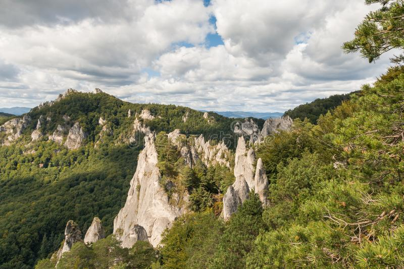 Aerial view of Sulov Rocks - limestone formation in Northern Slovakia royalty free stock photo