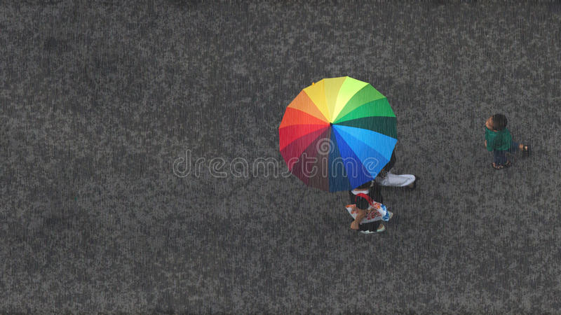 Summer raining moment. People walking in rain with rainbow umbrella, a boy following