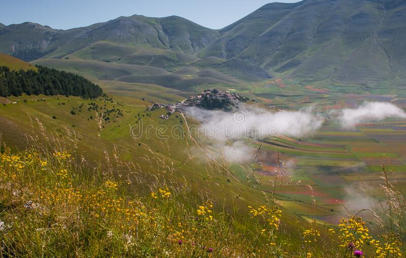 Aerial view of summer landscape at Piano Grande Great Plain mountain plateau in the Apennine Mountains, Castelluccio di Norcia, stock images