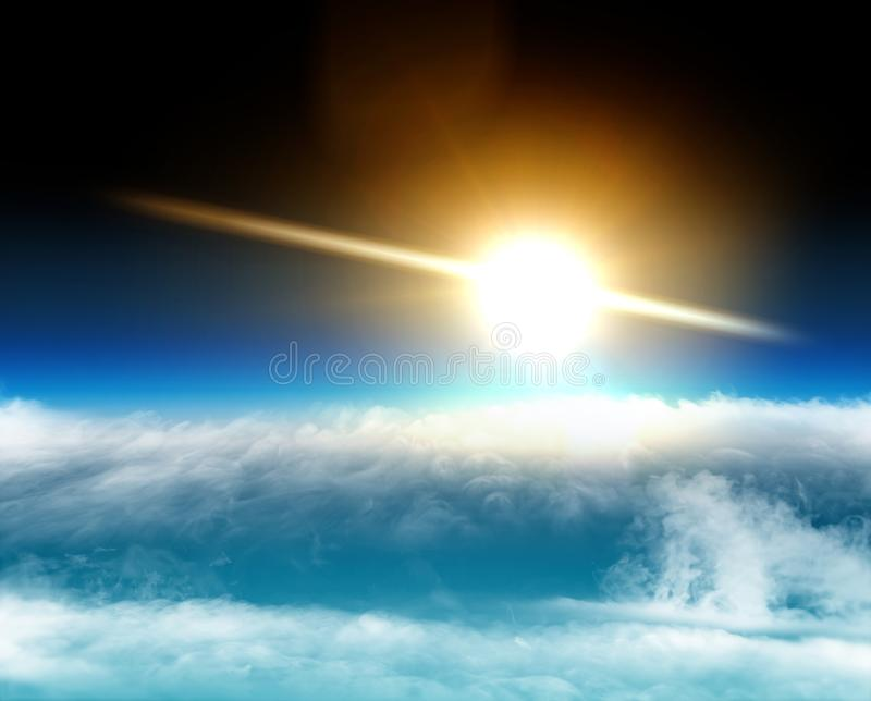 Aerial view of the sun above the clouds, space stratosphere. Global warming, climate change. Ozone hole. Aerial view of the sun above the clouds, space stock images