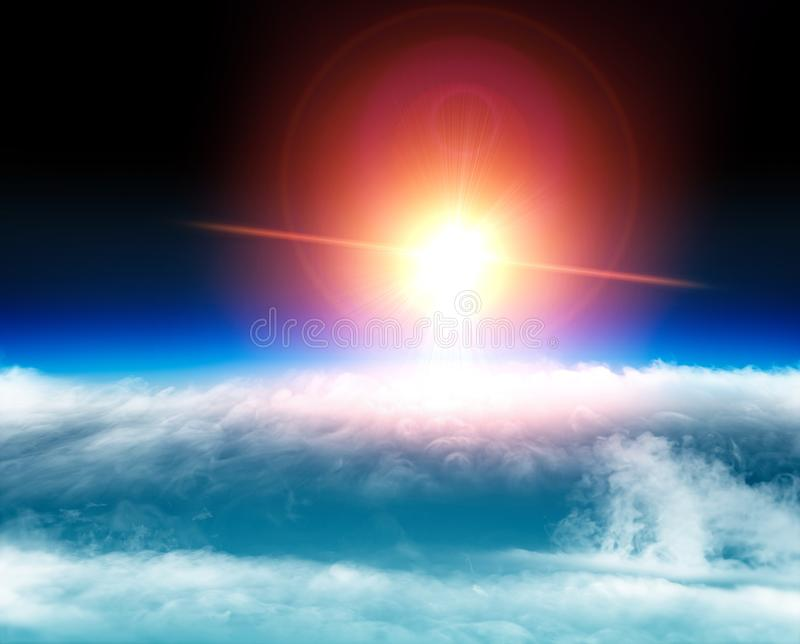 Aerial view of the sun above the clouds, space stratosphere. Global warming, climate change. Ozone hole. Aerial view of the sun above the clouds, space royalty free stock photography