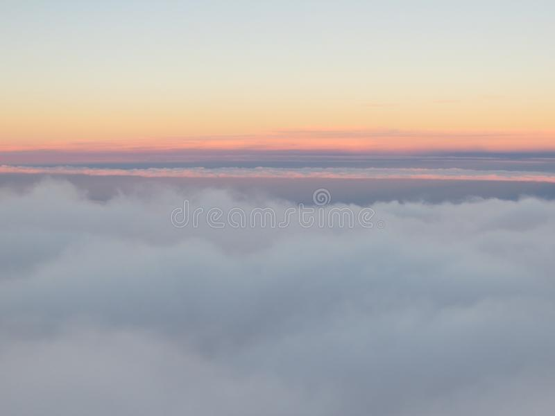 Aerial View Of Sunrise Above The Clouds. Stock Photo ...