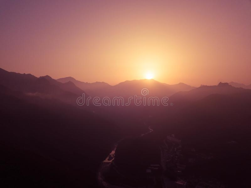 Aerial View of Sunrise Above Foggy Mountains. Seoraksan National Park in Sokcho, South Korea stock image