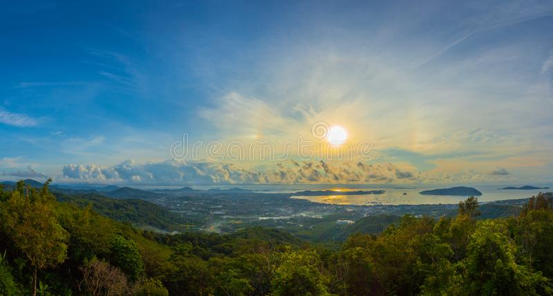 Aerial view sunrise in Chalong sea Phuket big Buddha is on the top of Nakkerd mountain. Phuket big Buddha is the famous landmark in Phuket island a lot of royalty free stock images