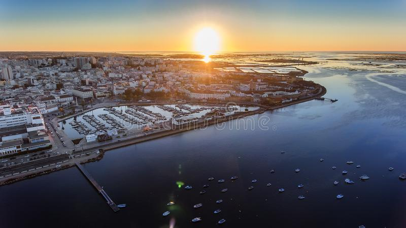 Aerial view of the sunrise over the city of Faro, Portugal. Marina. stock photography