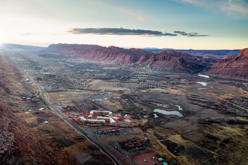 Aerial view sunrise with sunrays in Moab Utah stock photos