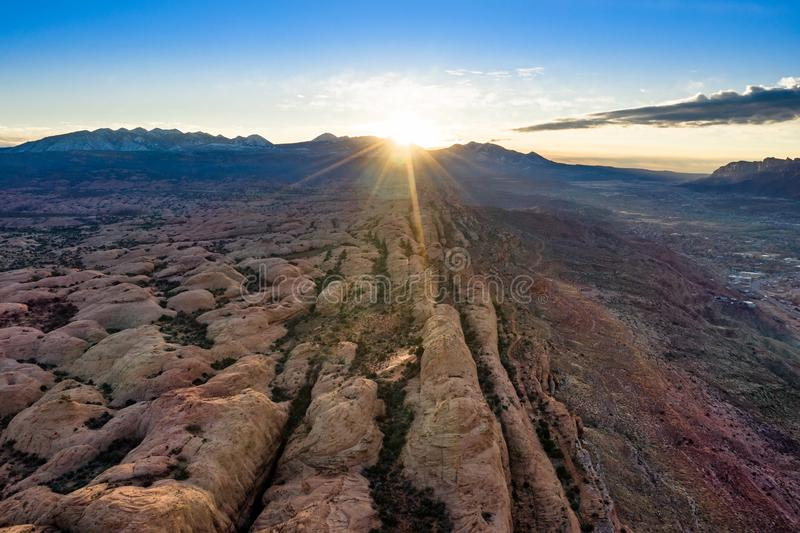 Aerial view sunrise with sunrays in Moab Utah royalty free stock image