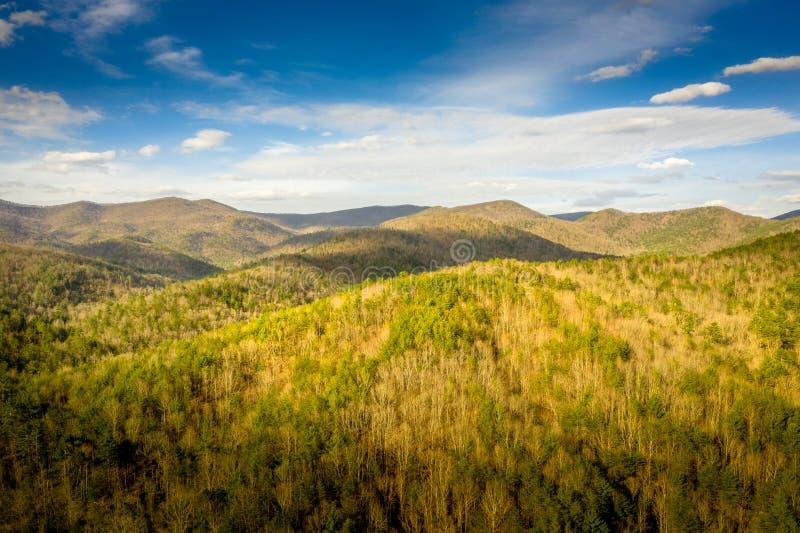 Aerial view sunset in Georgia Mountains stock photo