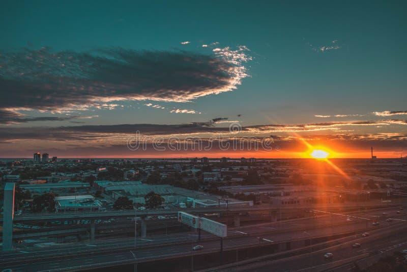 Aerial View of Sunset on Horizon stock photos