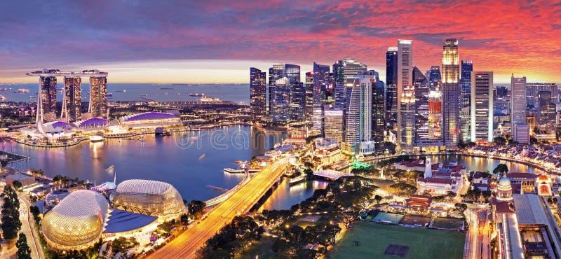 Aerial view of sunset at Marina Bay Singapore city skyline royalty free stock photos